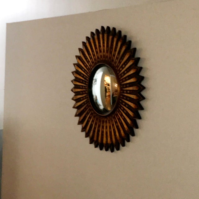 Mid Century Modern Argentinian Gilded Wood Starburst Convex Wall Mirror - Image 7 of 7