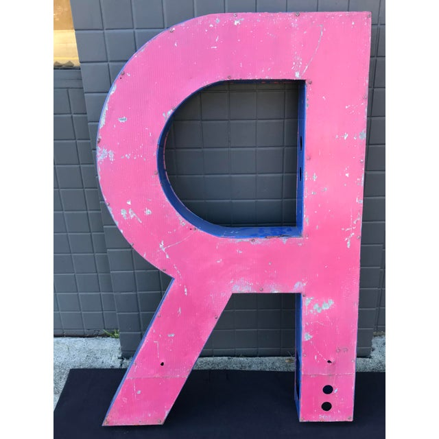 "Large Vintage Blue & White Enamel ""R"" Building Signage For Sale - Image 9 of 11"