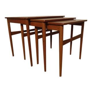 Midcentury Set of Teak Nesting Tables For Sale