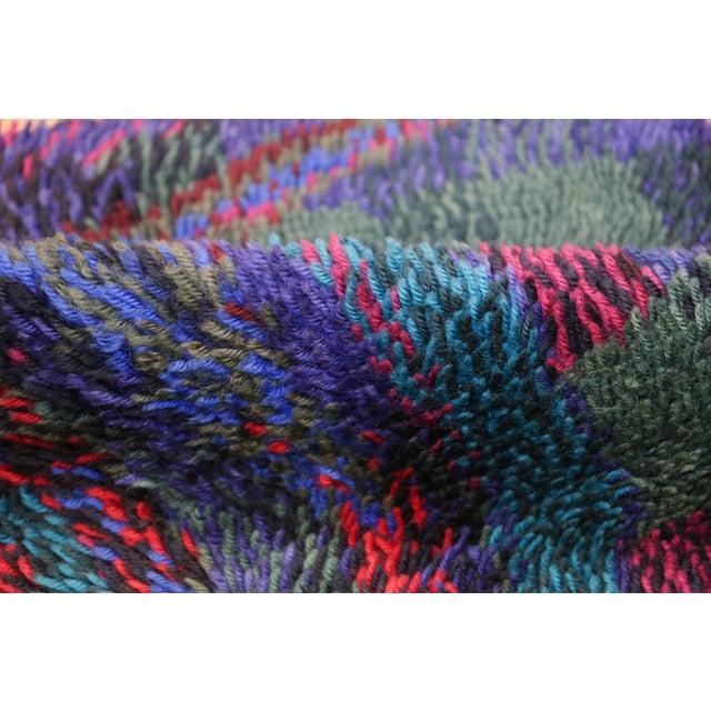 Blue Vintage Scandinavian Rya Rug by Ritva Puotila - 4′5″ × 5′10″ For Sale - Image 8 of 10