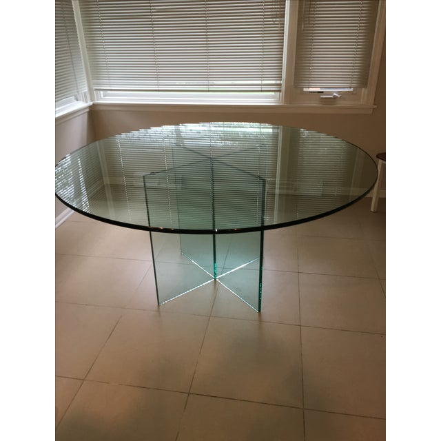 X-Base Round Top Glass Dining Table - Image 7 of 7