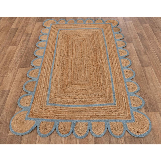 Light Blue Scallop Jute Hand Made Rug - 2'x3' For Sale - Image 4 of 9