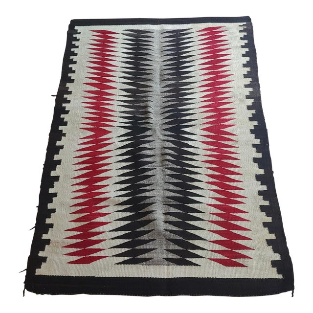 Native American Vintage Navajo Rug W/Red Brown & Beige Design For Sale