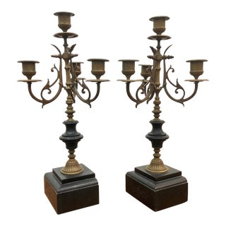 Late 19th Century Antique French Aesthetic Movement Patinated Bronze & Marble Candelabras - A Pair For Sale