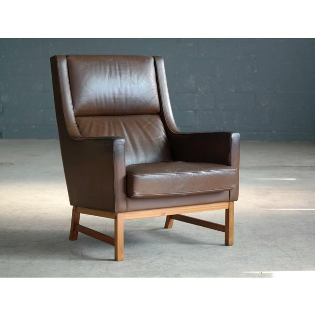 Midcentury Kai Lyngfeldt Larsen Style High Back Lounge Chair in Brown Leather For Sale - Image 9 of 9