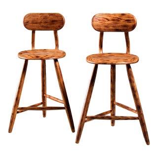 Kai Pedersen studio pair bar stools with removable backrest , USA, 1983 For Sale