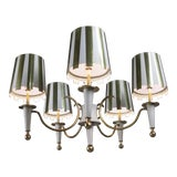 Image of 1960s Brass & White Lacquer Five-Light Chandelier For Sale