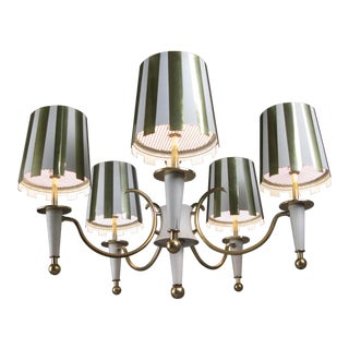 1960s Brass & White Lacquer Five-Light Chandelier For Sale