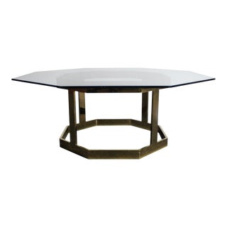 Milo Baughman Attributed Octagonal Glass Coffee Table For Sale