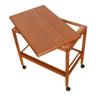 Expanding Danish Teak Cocktail Cart With Reversible Serving Tray For Sale