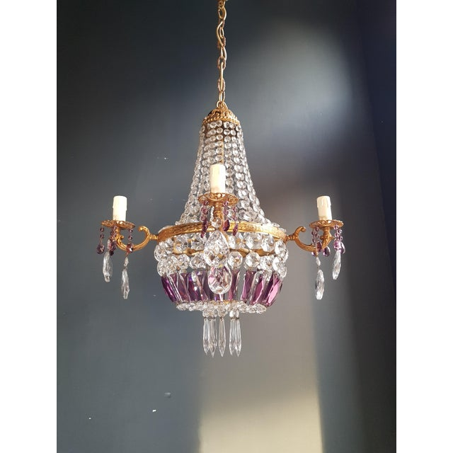 Gold Empire Sac a Pearl Purple Chandelier Crystal Lustre Ceiling Lamp Basket Antique Brass For Sale - Image 8 of 8