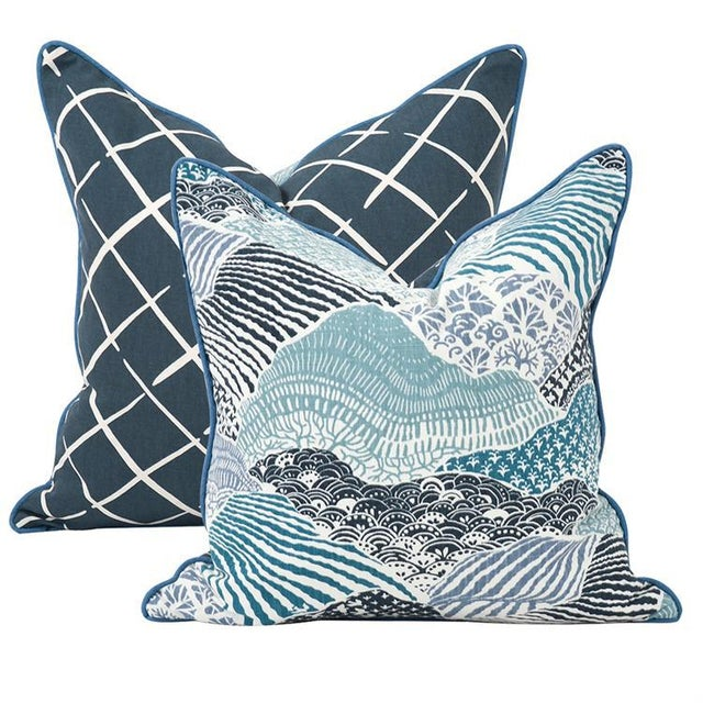 """Transitional Kenneth Ludwig Windsor Park Ocean 20"""" Square Pillow For Sale - Image 3 of 4"""