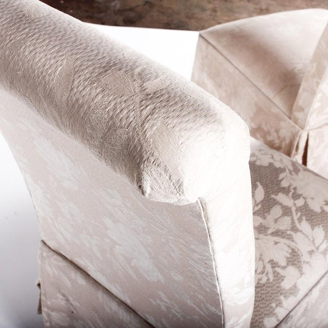 Silk Contemporary Off White Upholstered High Back Skirted Parsons Chairs - a Pair For Sale - Image 7 of 9
