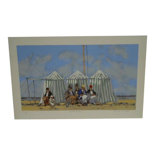 """Frederick McDuff """"Tents on the Beach"""" Limited Edition Print For Sale"""