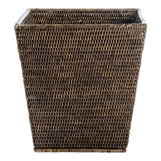 Artifacts Rattan Square Wastebasket For Sale