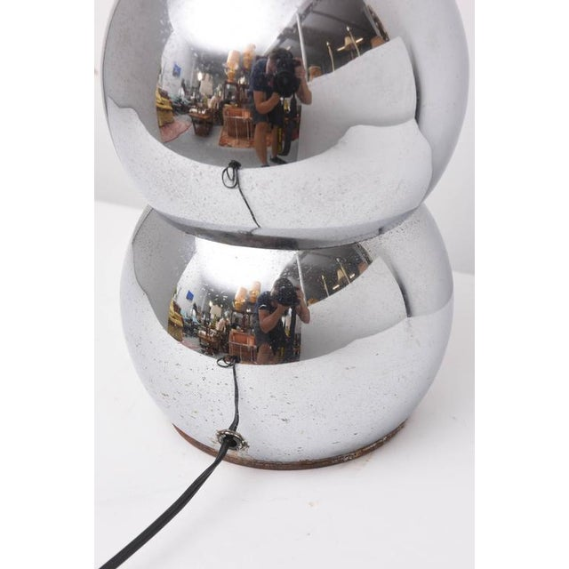Silver Pair of Kovacs Stacked Chrome Ball Lamp, 1970s, Usa For Sale - Image 8 of 9