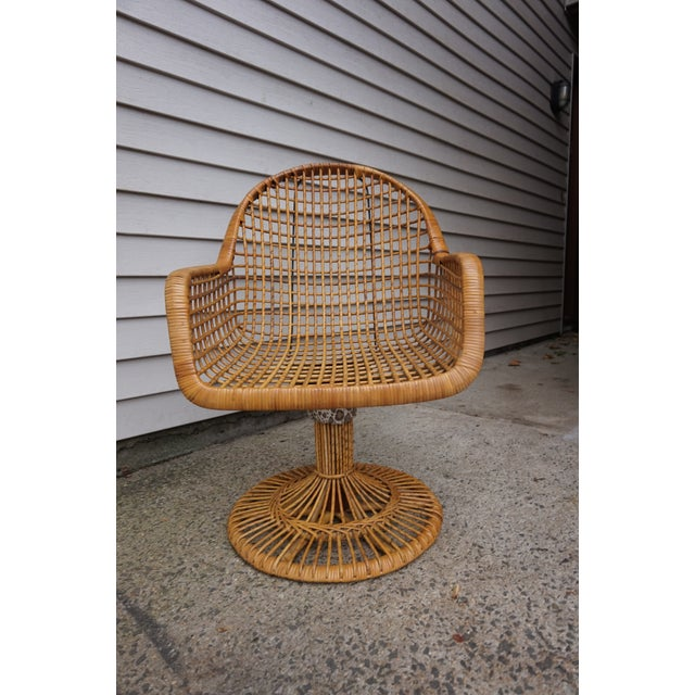 Franco Albini Era Bamboo Swivel Chair For Sale - Image 11 of 11