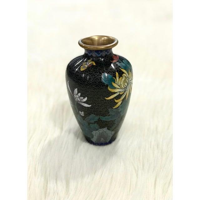 Mid-Century Modern Vintage Small Black Cloisonné Vase For Sale - Image 3 of 7