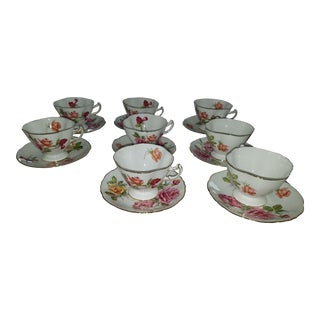Floral Bone China Cups and Saucers - Set of 8 For Sale