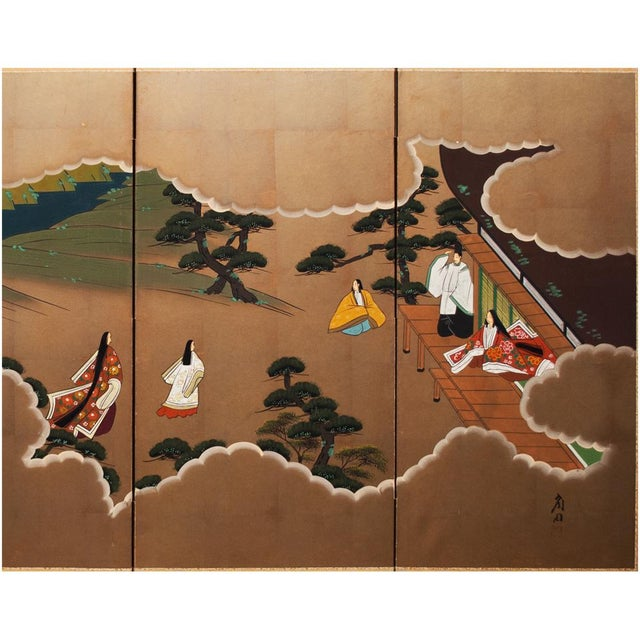 "Asian Shōwa Era ""The Tale of Genji"" Japanese Byobu Screen For Sale - Image 3 of 13"