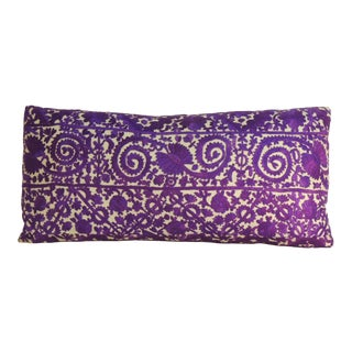 19th Century Purple Embroidered Moroccan Decorative Bolster Pillow For Sale