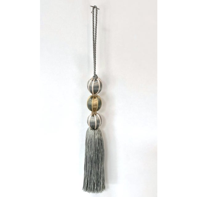 French Blue Tall Beaded Key Tassel - Height 7.5 Inches For Sale In Charlotte - Image 6 of 8
