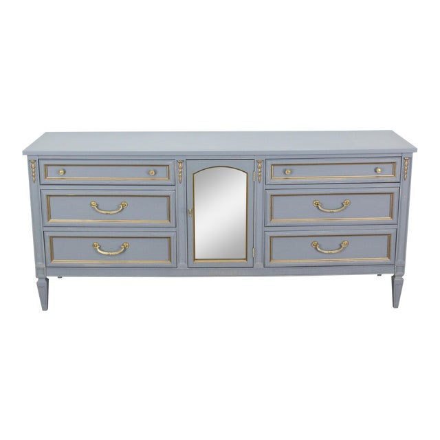 Mid Century Gray Neoclassical Style Dresser For Sale