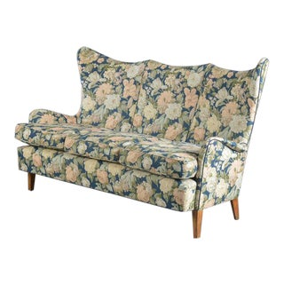 Danish Midcentury Highback or Wingback Sofa, Circa 1950s For Sale