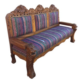 1920s Vintage Solid Teak Carved Sofa For Sale