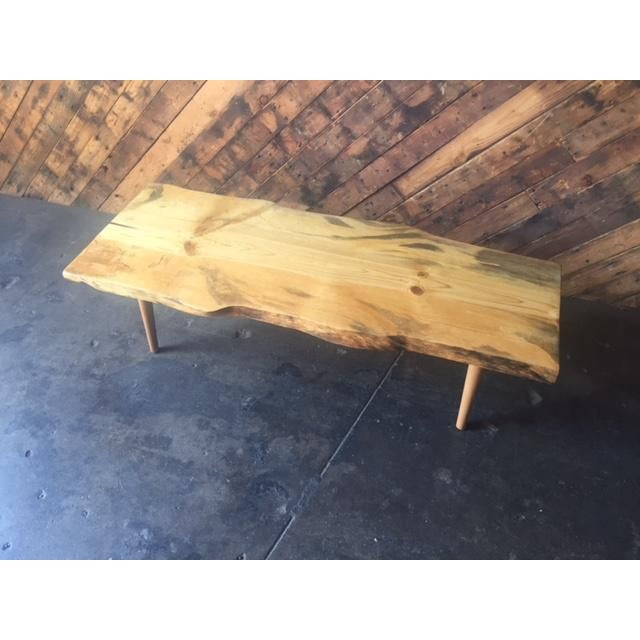 Mid-Century Modern Live Edge Northern California Pine Coffee Table For Sale - Image 3 of 6