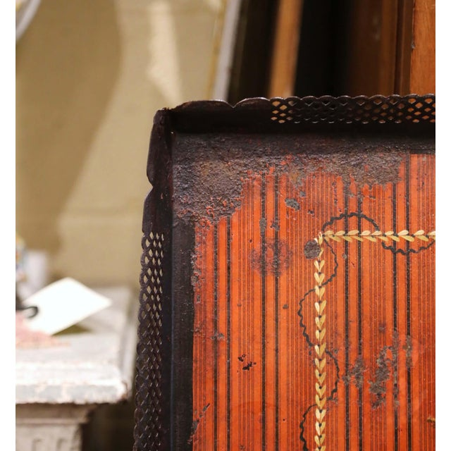 French Mid-19th Century French Napoleon III Hand Painted Tole Tray With Bird Motifs For Sale - Image 3 of 7
