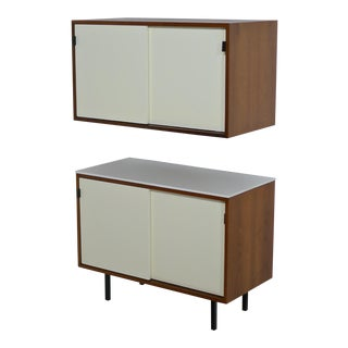 Pair of Knoll Bar Credenzas in White Lacquer, Walnut and Vitrolite For Sale