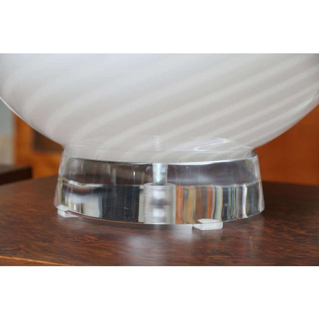 White Extra Large Vetri Murano Glass & Lucite Globe Table Lamps - a Pair For Sale - Image 8 of 9