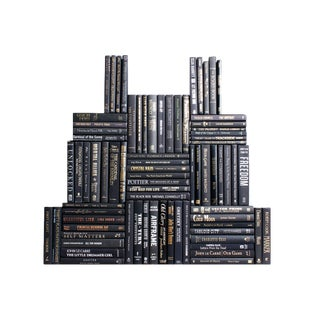 Modern Onyx Book Wall : Set of Seventy Five Decorative Black Books With Blended Accents