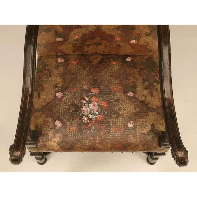 Antique Embossed Painted & Gilded Leather Chair For Sale In Chicago - Image 6 of 11