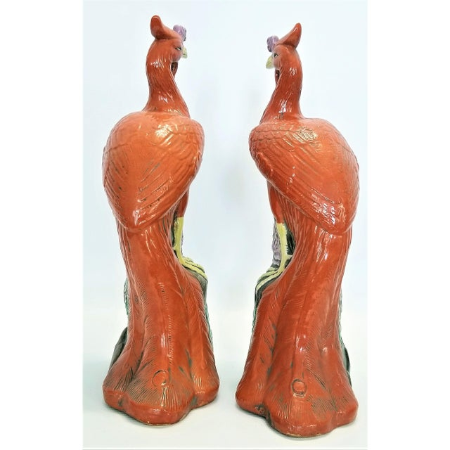 Orange Large Chinese Ceramic Phoenix Sculpture Figurines - a Pair - Feng Shui - Asian Palm Beach Boho Chic Animals Birds Tropical Coastal For Sale - Image 8 of 13