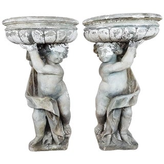 20th Century Italian Neoclassical Garden Pots With Statues Set, Garden Ornament For Sale