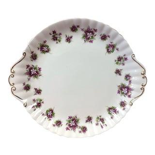 "Vintage Mid-Century Royal Albert ""Sweet Violets"" Cake Plate For Sale"