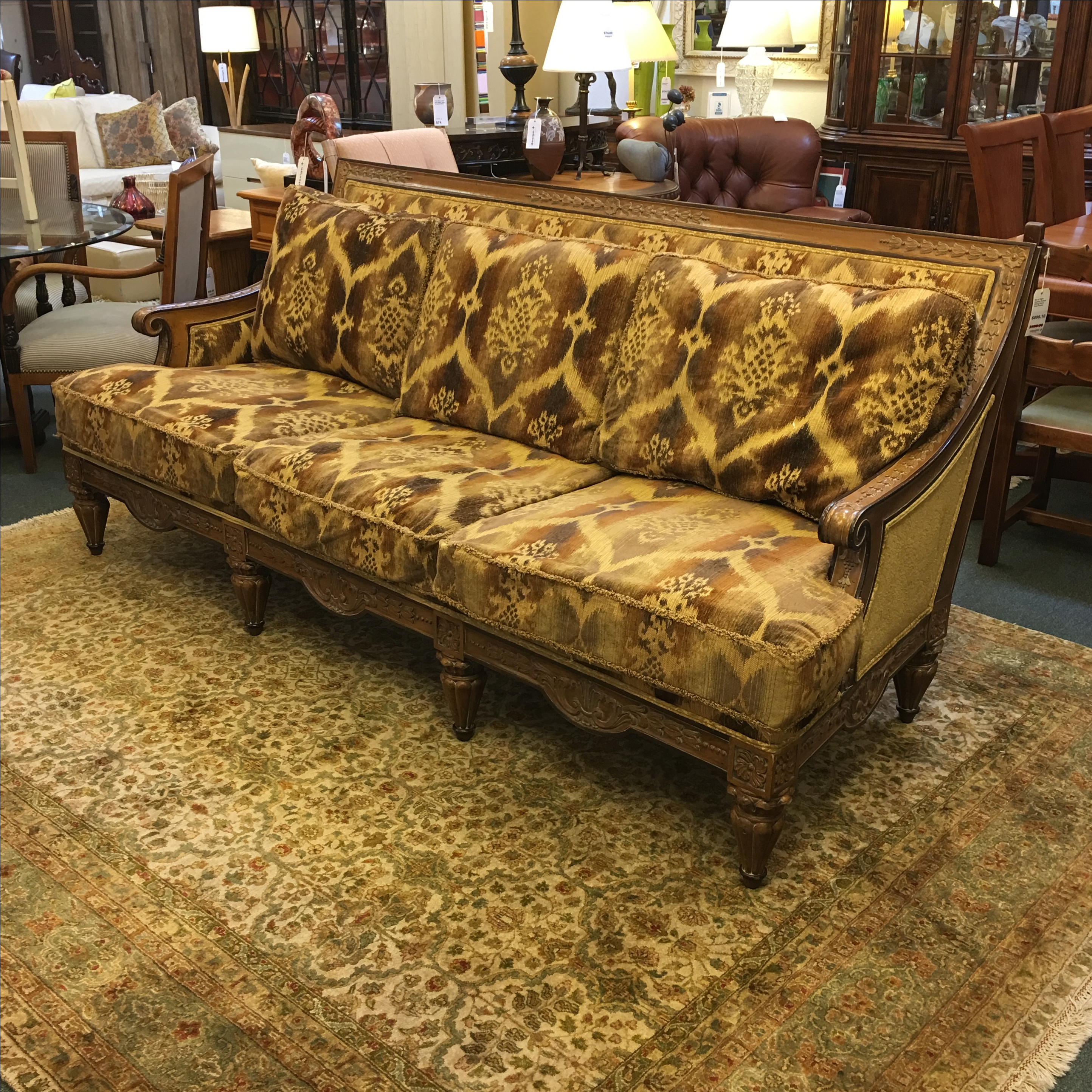 Traditional Drexel Heritage Chenille Ikat Sofa For Sale   Image 3 Of 11