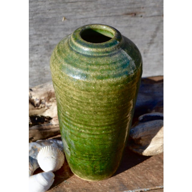 Vintage Hand Thrown Pottery Vase, Green - Image 3 of 9