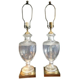 Crystal Brass Urn Table Lamps - Pair Preview