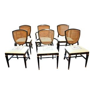 VintageAsian Inspired Dining Room Chairs by Burns Case Goods- Set of 6 For Sale