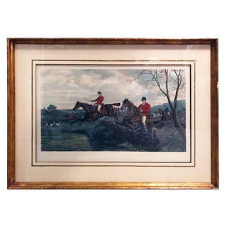 """A Fast Twenty Minutes"" Hand Colored Hunting Scene Engraving by Sheldon Williams For Sale"
