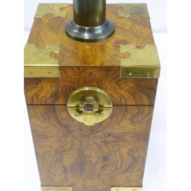 Metal 1970s Campaign Style Burl Wood Faux Tea Box Table Lamps - a Pair For Sale - Image 7 of 13