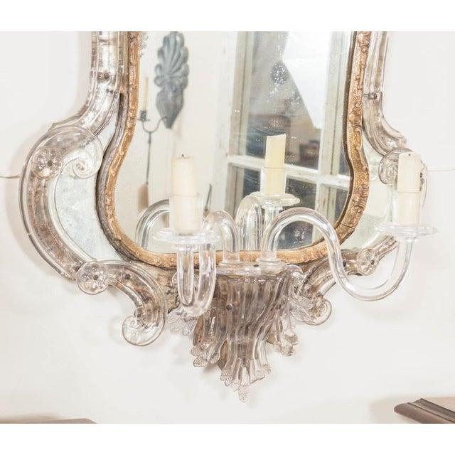 18th Century Venetian Glass Mirror With Blown Glass Sconce For Sale In San Francisco - Image 6 of 7