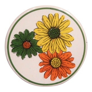 1950s Vintage Gail Craft Floral Designed Ceramic and Wood Cheese Board For Sale