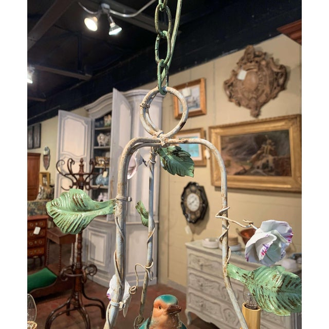French Painted Chandelier With Porcelain Bird and Flowers For Sale - Image 9 of 10