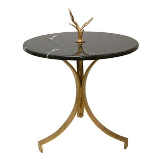 1998 Contemporary Forged and Gilt Gold Steel and Black Marble Occasional Table by Maurice Beane Studios For Sale