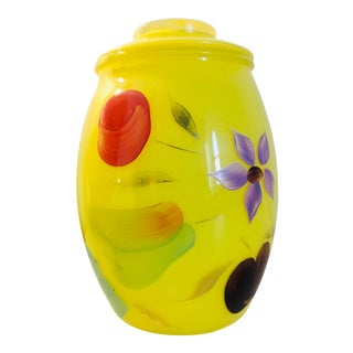 1950s Hand Painted Cookie Jar in Bright Yellow For Sale