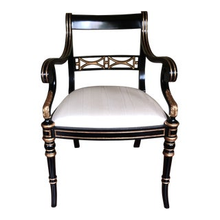 21st Century Vintage Maitland Smith Hollywood Regency Black & Gold Accent Arm Chair For Sale